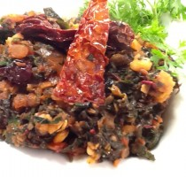 Chana Dal with Laal Saag Recipe